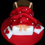Vermont valentines sexy red heart two under the cover bed cake